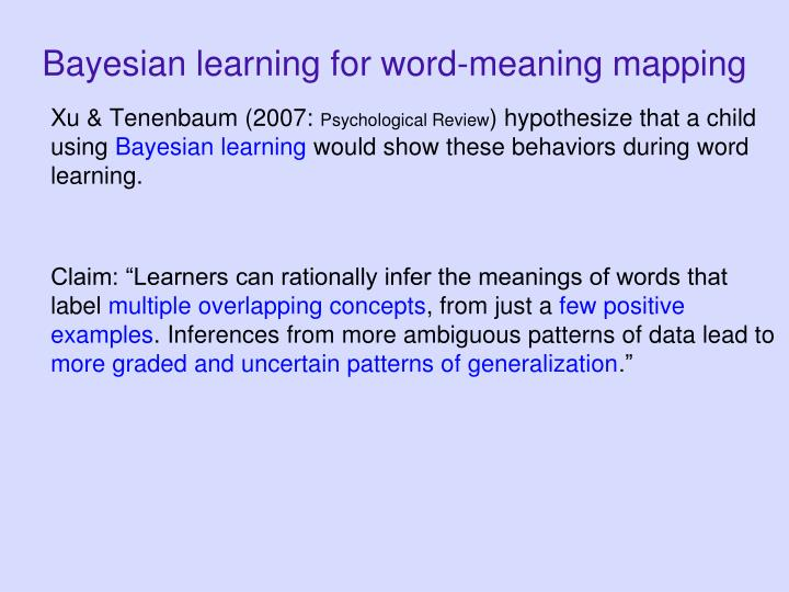 Bayesian learning for word-meaning mapping