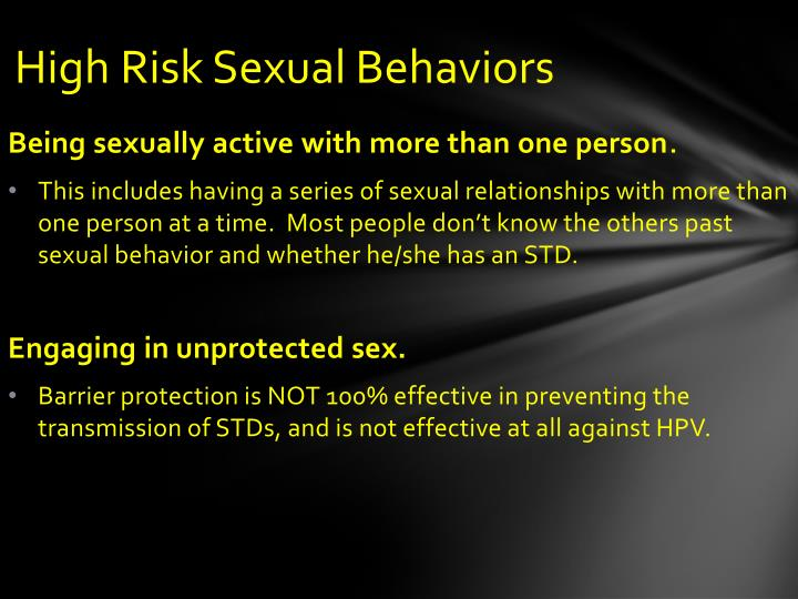 High Risk Sexual Behaviors