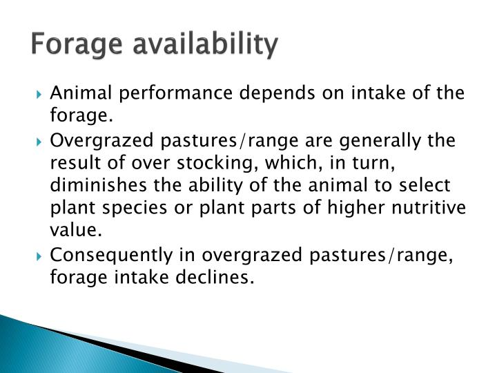 Forage availability