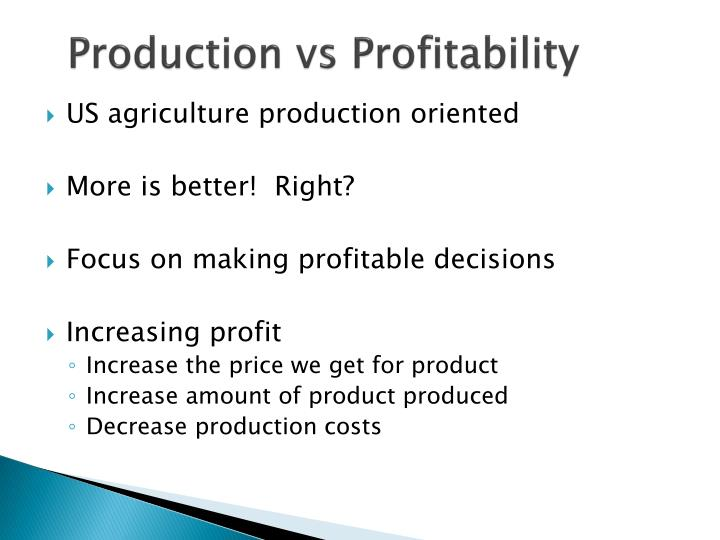Production vs profitability