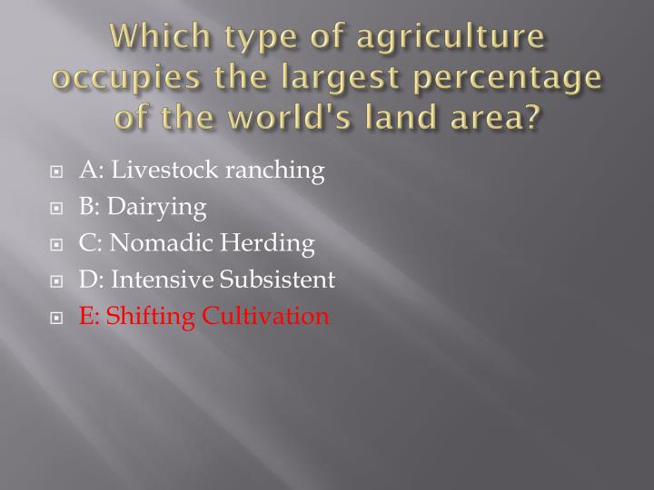 Which type of agriculture occupies the largest percentage of the world's land area?