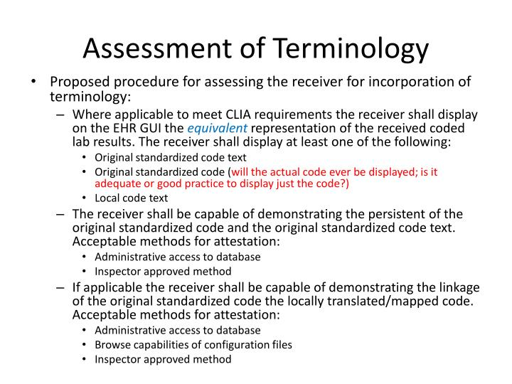 Assessment of Terminology