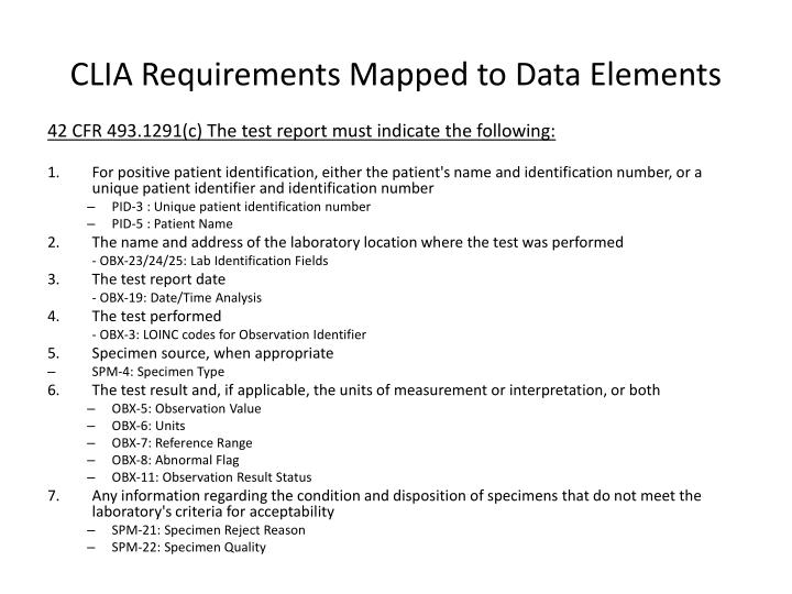 CLIA Requirements Mapped to Data Elements