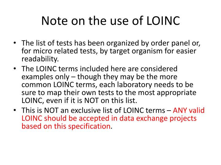 Note on the use of LOINC
