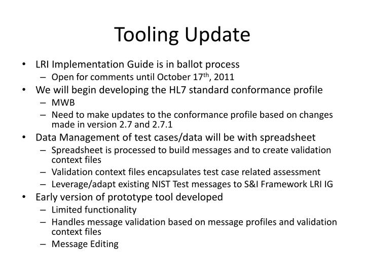 Tooling Update