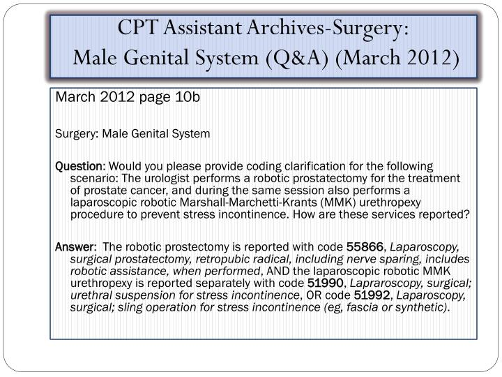 CPT Assistant Archives-Surgery: