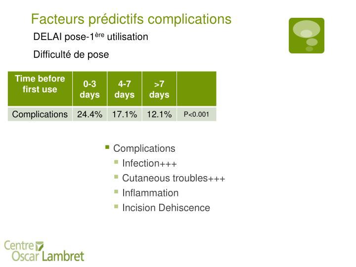Facteurs prédictifs complications