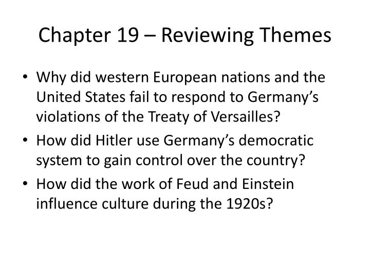 Chapter 19 – Reviewing Themes