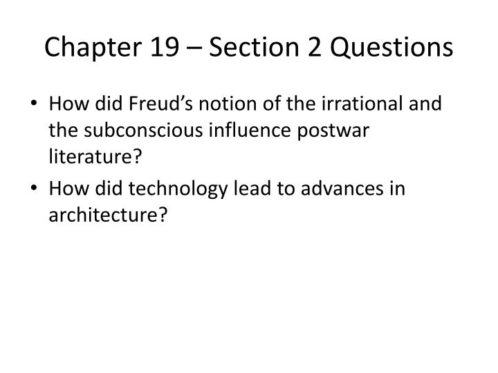 Chapter 19 – Section 2 Questions