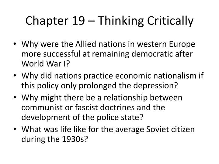 Chapter 19 – Thinking Critically