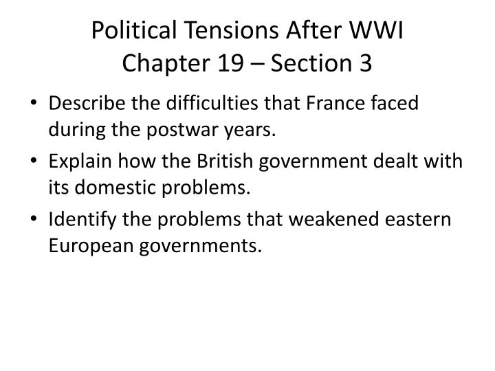 Political Tensions After WWI