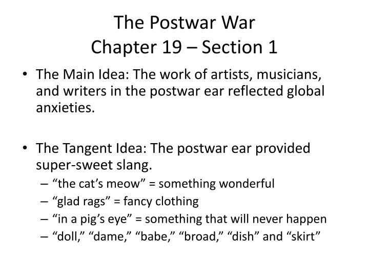 The postwar war chapter 19 section 1