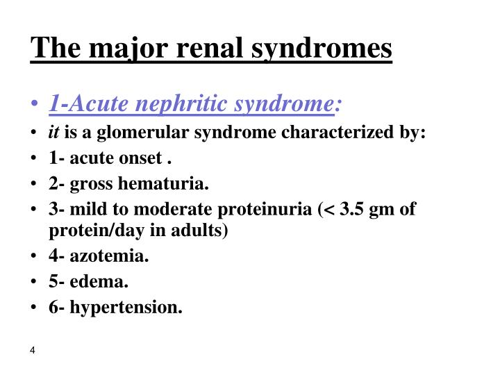The major renal syndromes