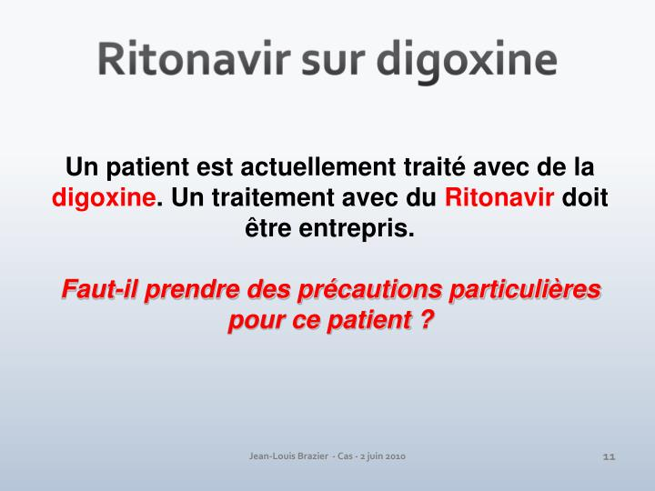 Ritonavir sur digoxine