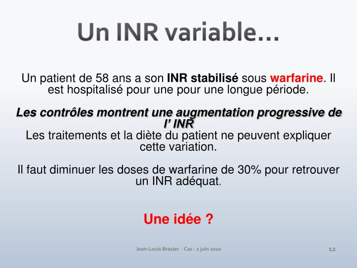 Un INR variable…
