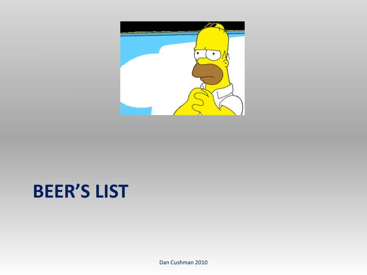 Beer's List