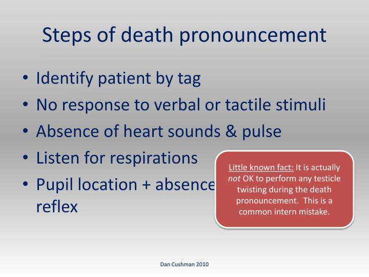 Steps of death pronouncement