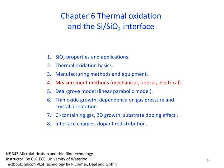 Chapter 6 Thermal oxidation and the Si/SiO