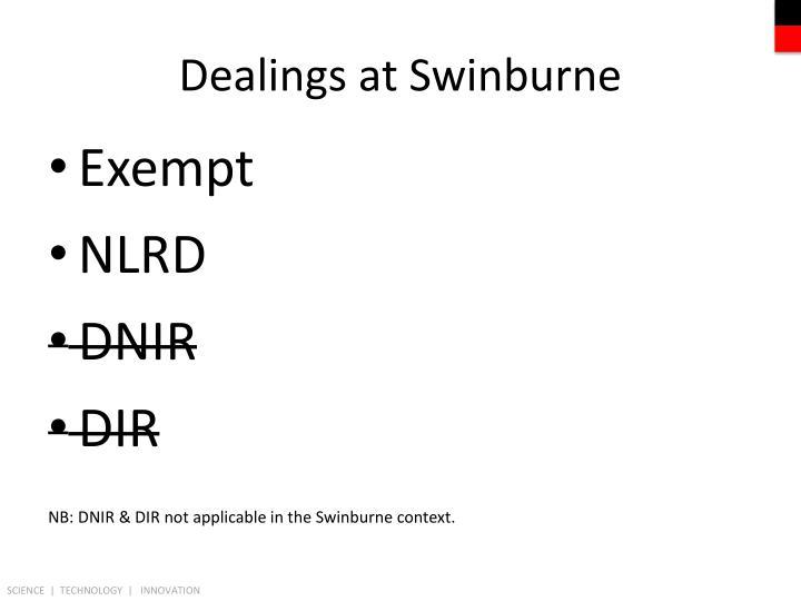 Dealings at Swinburne