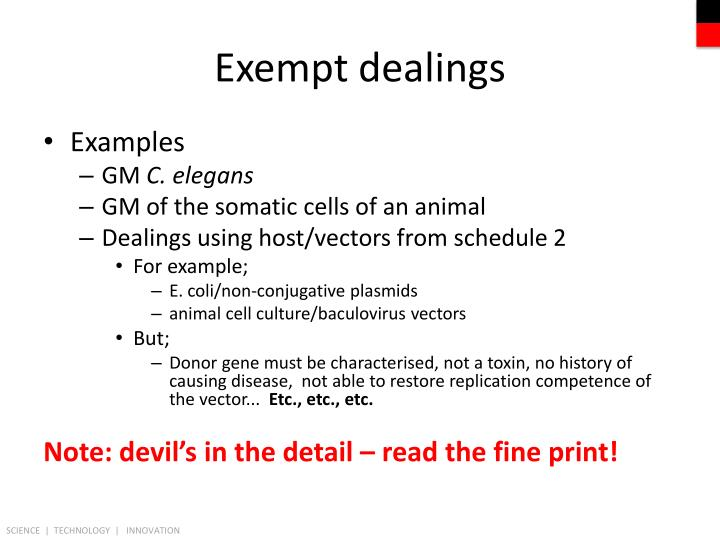 Exempt dealings