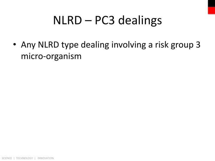 NLRD – PC3 dealings