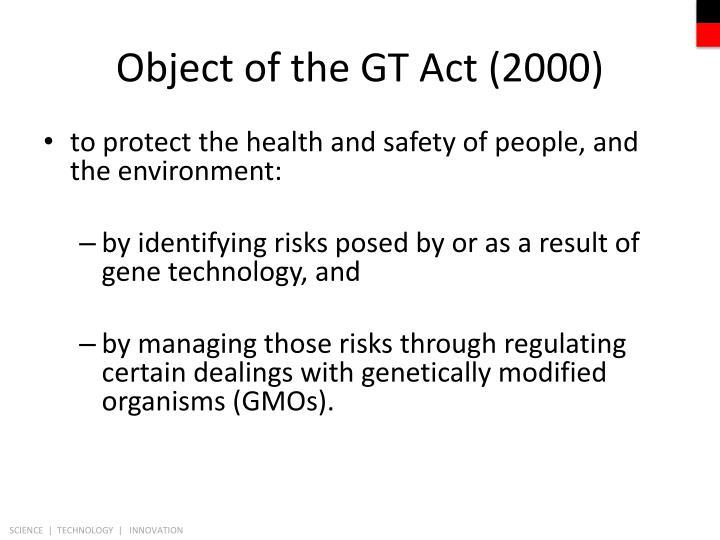 Object of the GT Act