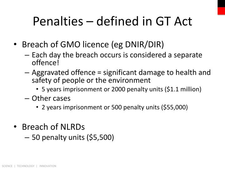 Penalties – defined in GT Act