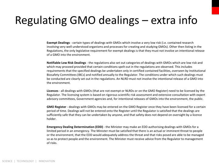 Regulating GMO dealings – extra info