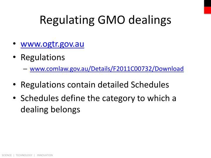 Regulating GMO dealings