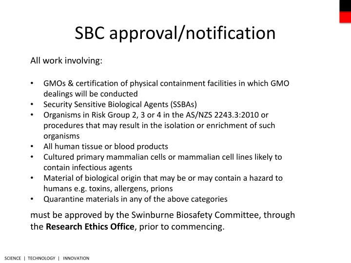 SBC approval/notification