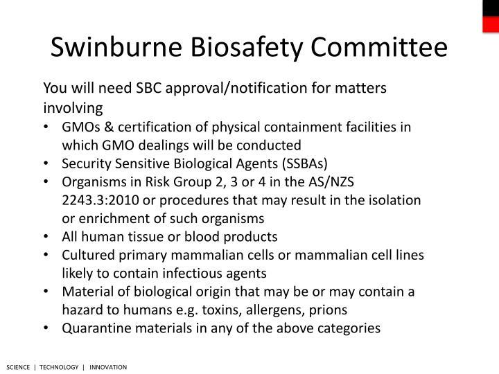Swinburne Biosafety Committee