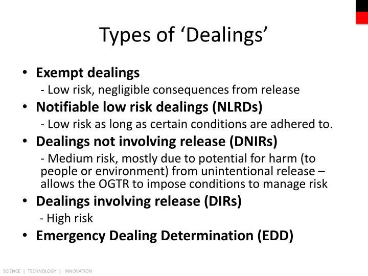 Types of 'Dealings'