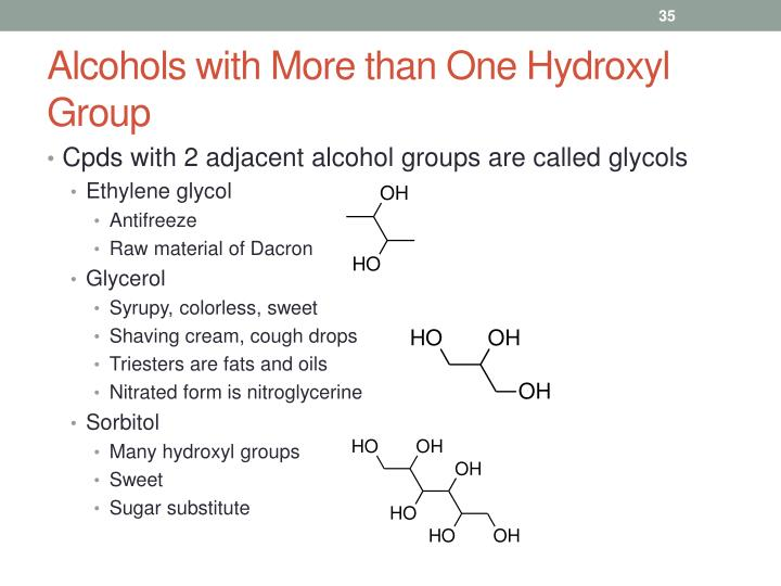 Alcohols with More than One Hydroxyl Group
