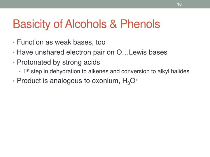 Basicity of Alcohols & Phenols