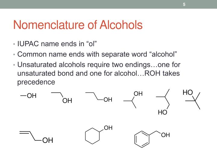 Nomenclature of Alcohols