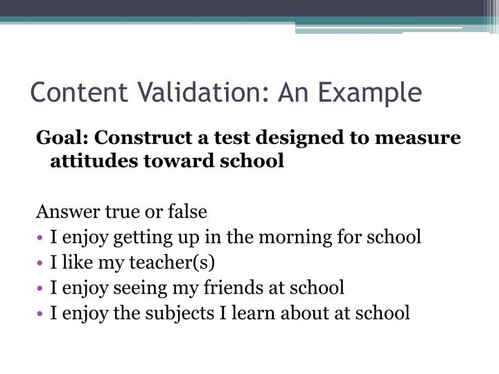 Content Validation: An Example