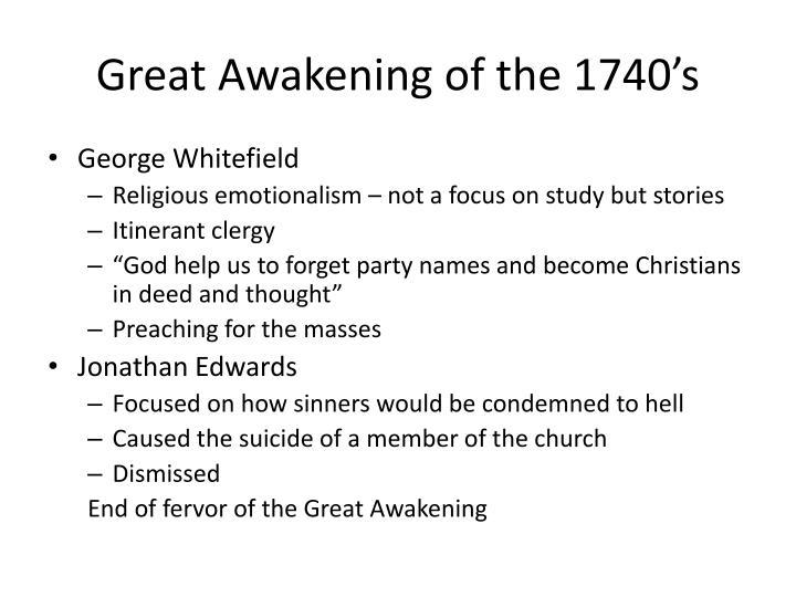 Great Awakening of the 1740's