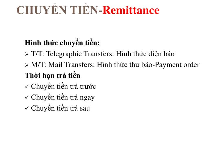 Chuy n ti n remittance