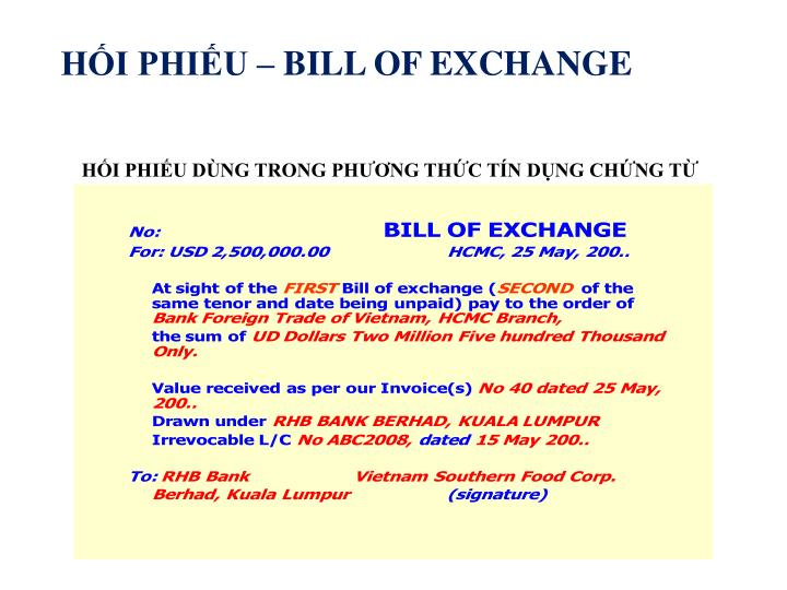 HỐI PHIẾU – BILL OF EXCHANGE