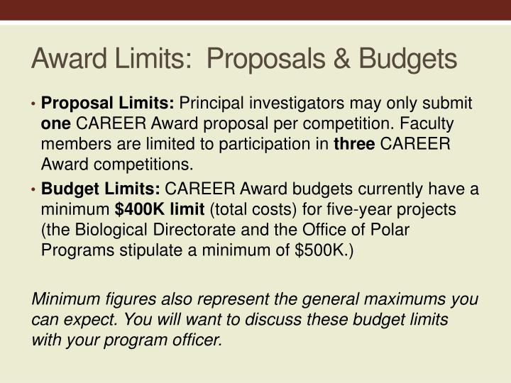 Award Limits:  Proposals & Budgets