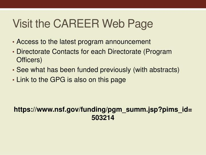Visit the CAREER Web Page