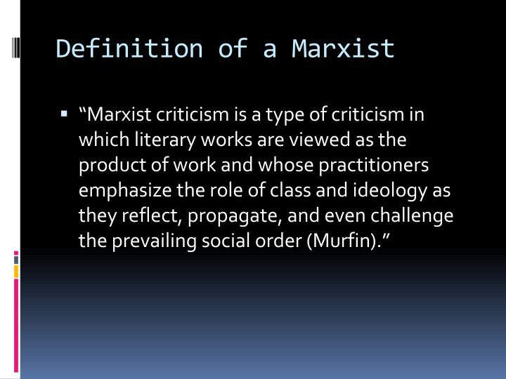 Definition of a marxist