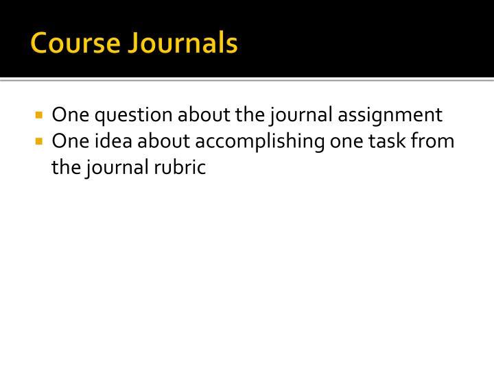 Course Journals