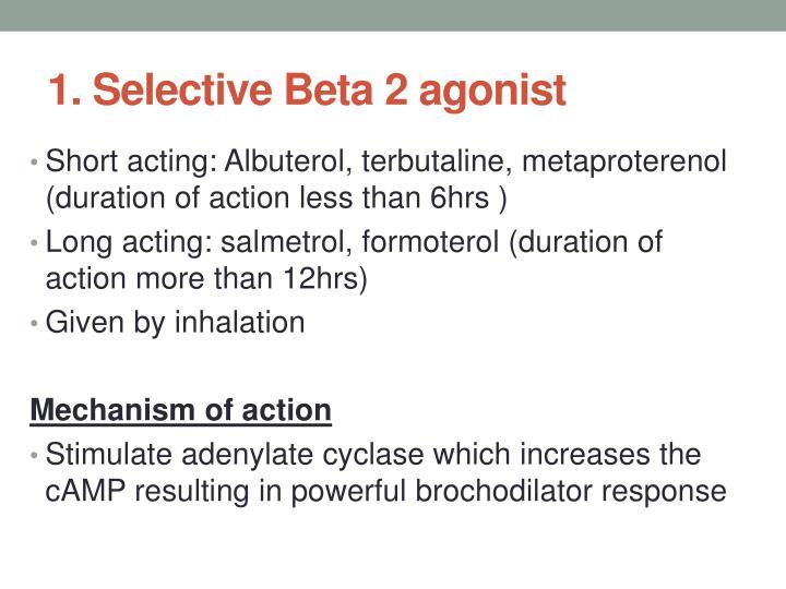 1. Selective Beta 2 agonist