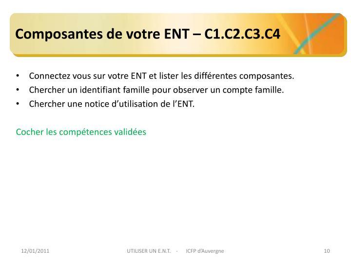 Composantes de votre ENT – C1.C2.C3.C4