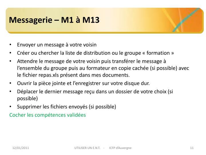 Messagerie – M1 à M13
