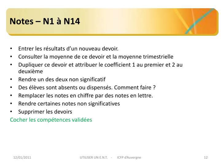 Notes – N1 à N14