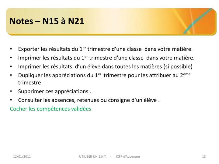 Notes – N15 à N21