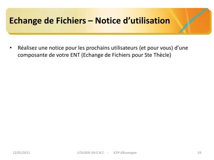 Echange de Fichiers – Notice d'utilisation