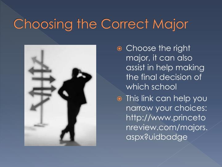 Choosing the Correct Major